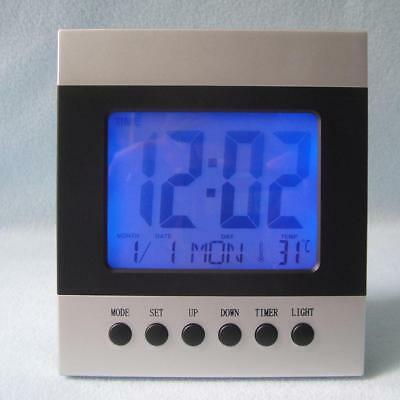 Voice Control Digital LCD Display Desk Table Alarm Snooze Clock Thermometer