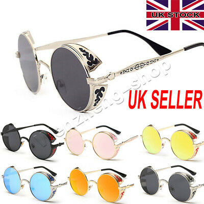 Vintage Polarized Steampunk Sunglasses Fashion Round Mirrored Retro Sun Glasses