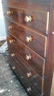 Original Middle Victorian Flamed Mahogany Chest Of Drawers