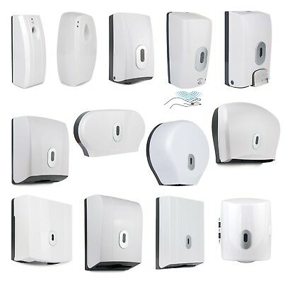 White Dispenser Toilet Roll Tissue Air Freshener Paper Towel Soap Centre Feed