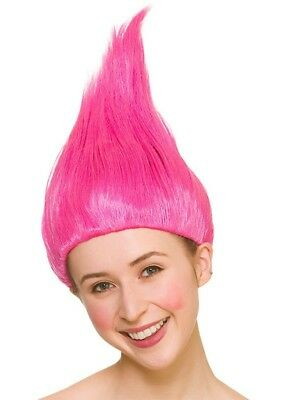 Trolls Pink Wig Ladies Fancy Dress Costume Hair Accessory Halloween Adults New