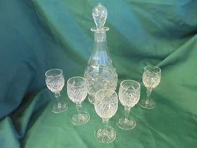Gorgeous Elaborate Slender Crystal Fine Cut Decanter With 5 Matching Glasses-Set