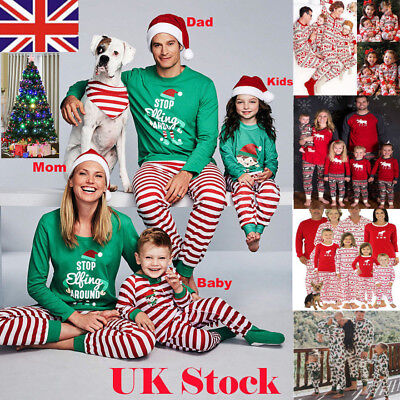14 Styles Family Matching Christmas Pajamas Sets XMAS Sleepwear Nightwear UK HOT