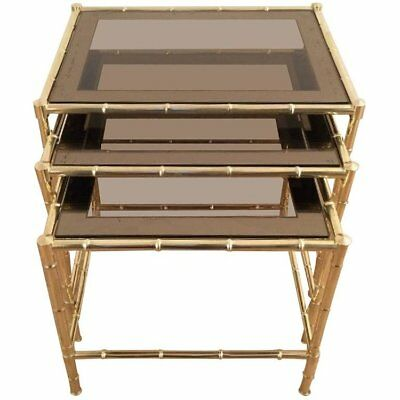 Set Of Three Faux-Bamboo Brass Nesting Tables