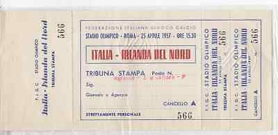 1957-ITALY v NORTHERN IRELAND @ROME-WORLD CUP QUALIFYING GROUP 8-UNUSED TICKET