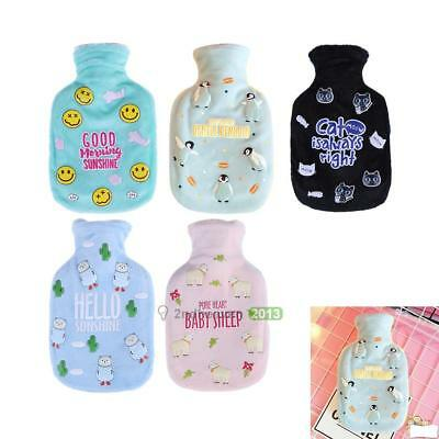350ml Fleece Cover Hot Water Bottle Bag Winter Home Warmer Heat Cold Therapy