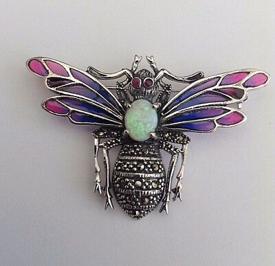 Silver Plique A Jour Bug Brooch Fantastic Opal And Rubies