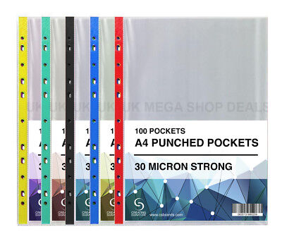 A4 Punched Pockets Poly Coloured Spine Wallet Sleeves Clear 1-1000 QTY