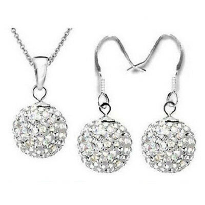 10MM Shamballa Austrian Crystal 925 Sterling Silver earring necklace set white