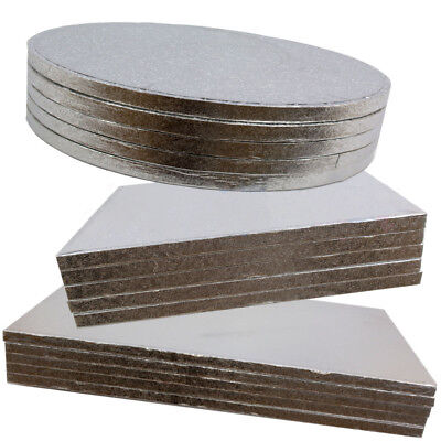 1 x Large Range of CAKE BOARDS & CAKE DRUMS - Round/Square - 5mm Thick (SILVER)