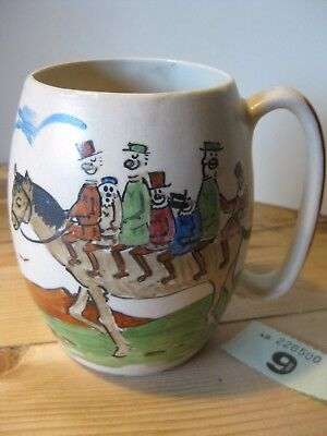 Devonmoor Pottery Widecombe Fair Large Mug Fun Hand Painted Horse And Riders