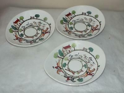3 X Vintage Crown Staffordshire Hunting Scene NIBBLES DISHES Horse Fox & Hounds