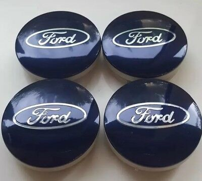 Ford 4x 54mm Blue Alloy Wheel Centre Caps Fit Most Models Focus/Fiesta/Mondeo UK