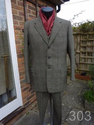 1960 Vintage Bespoke Tailored 3 Piece Suit, Green Check Tweed, Denman Goddard