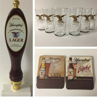 Yuengling Brewery Tap Handle (Tall) Pub Glass (6) Coaster (12) Gift Set ~ NEW