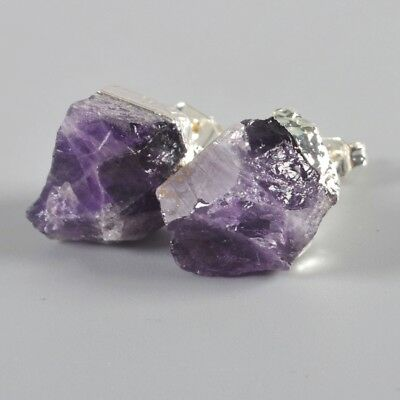 Freeform Rough Natural Amethyst Stud Earrings Silver Plated H102140