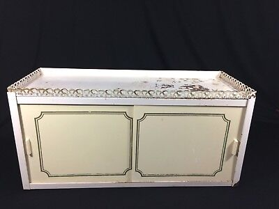 """Vtg Metal Bathroom Cabinet Mid Century Shabby Gold White Wall Mounted 20""""W"""