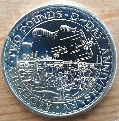 1994 Very Rare ALDERNEY £2 Two Pound coin - D-DAY Anniversary UNC - airships