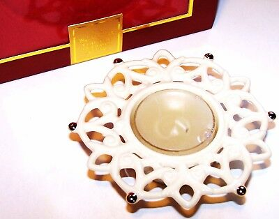 LENOX Snow Lights SHINE VOTIVE CANDLEHOLDER Openwork Edge & Gold Trim NEW in Box