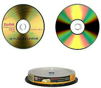 10 x KODAK CD-R DISCS 200 YEARS ARCHIVAL GRADE