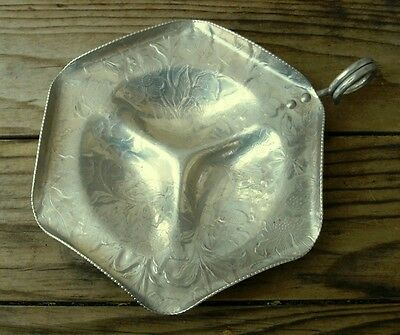 "Vintage ""Hand Finished Aluminum"" Three-Compartment Relish Tray, Scalloped Edge"