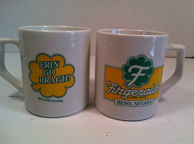Vintage Fitzgeralds Casino Reno Coffee Mugs Lot of 3 - Erin Go Bragh!
