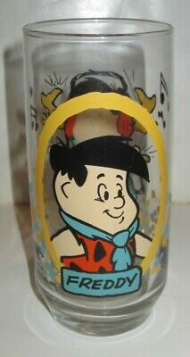 Vintage Pizza Hut Flintstone Kids Drinking Glass Freddy 1986 Hanna Barbera