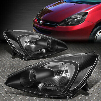 For 2004-2005 Toyota Sienna Pair Black Housing Clear Corner Headlight/lamp Set