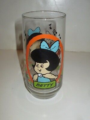 Vintage Pizza Hut Flintstone Kids Drinking Glass Betty Rubble 1986 Hanna Barbera