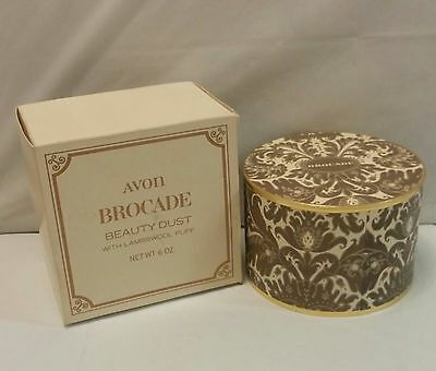 Vintage Avon Brocade Beauty Dust with Lambswool Puff - Unused