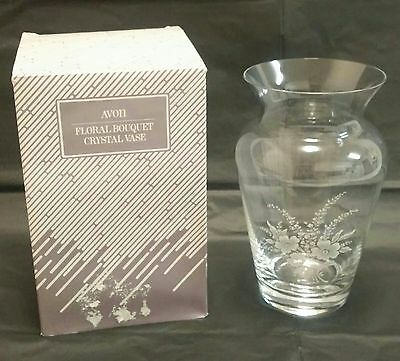 Vintage Avon Floral Bouquet Lead Crystal Vase in Original Box