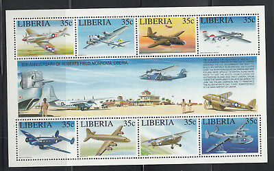 Liberia # 1164 MNH Complete Roberts Field 50th Anniversary WWII Airpalnes