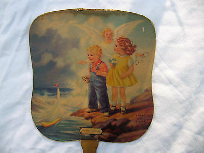 vtg 1930s Cater Funeral Home Moberly MO Missouri advertising hand fan Angel art