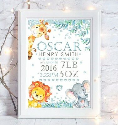 Personalised Jungle Animal Baby Print Picture Christening Gift Nursery Art