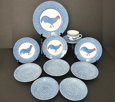 BURLEIGH Pottery ICTC CHANTICLEER COCKEREL DINNER + SIDES PLATES + CUP + SAUCERS