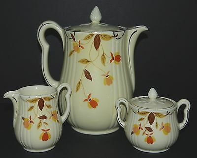 Vtg HALL'S SUPERIOR Jewel AUTUMN LEAF 9 Cup COFFEE POT Sugar BOWL Milk JUG USA