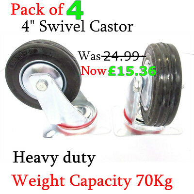 "4 x  4"" Heavy Duty Swivel Castor Wheels Caster  Double ball bearing whee 100 mm"