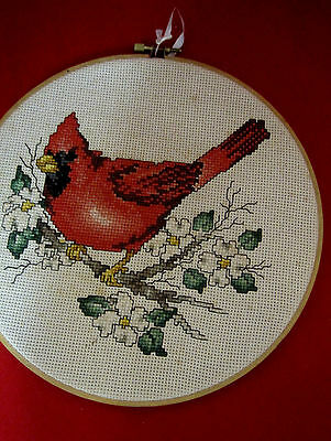 Cardinal Red Bird Cross Stitch Needlepoint on Embroider Hoop Wall Hanging