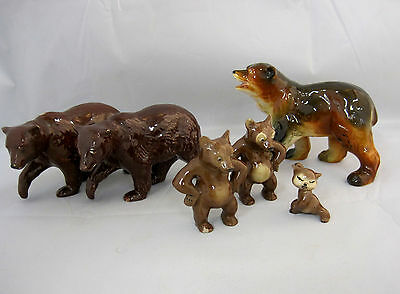 Brown Bears Assorted Collection Lot of 6 Ceramic Miniatures for Fairy Gardens
