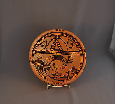 Old Traditional Hopi Pueblo Indian Bowl Pot - Parrot Squash Blossom Sikyatki