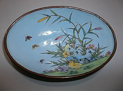 Vintage Chinese Copper  Enamel Bowl  TURQUOISE Blue BUTTERFLIES Ducks 7""