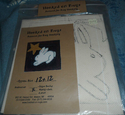 """Bunny & Star  -  pattern for rug hooking on monks cloth  - 12"""" x 12""""  - unopened"""