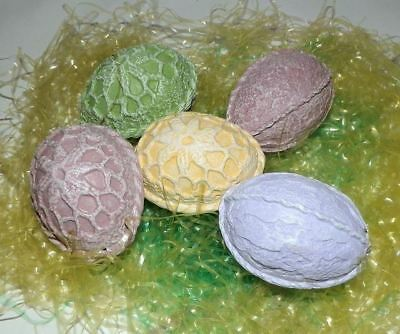 5 Painted Bisque Easter Eggs Crochet Look Pink Lavender Green Yellow