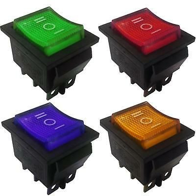 Illuminated Momentary  Rocker Switch DPDT 6 Pins 2 Circuits 15A 250VAC colour