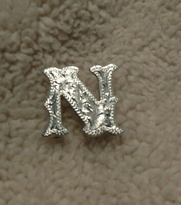 """Montana Silversmiths Concho Letter N Initial 3/4"""" Tall Engraved Real Silver"""