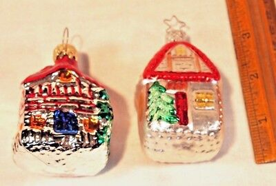 2 Old World Christmas Houses hand blown glass silvered ornament