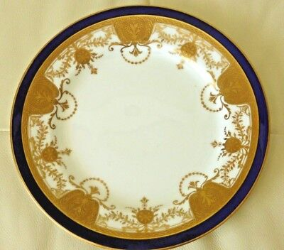 Royal Crown Chelsea China Thomas Morris Cobalt Blue and Gold Decoration Plate