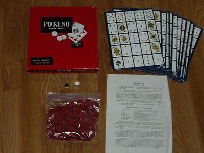 Vintage PO-KE-NO POKER KENO Game Set - 12 Board Set - Cincinnati, Ohio, U.S.A.