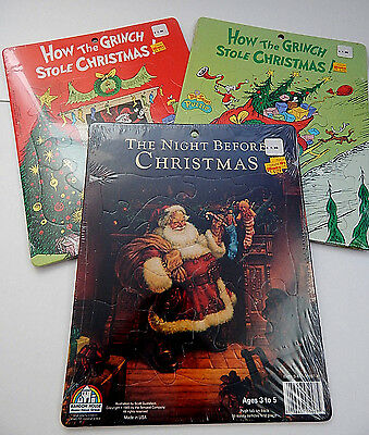 3 1985 Random House Pre-K Puzzles 1 Night Before Christmas 2 Grinch Stole Xmas