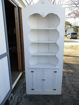 Vintage White Corner Cabinet With Back